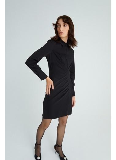 Rue Drapeli Elbise Siyah